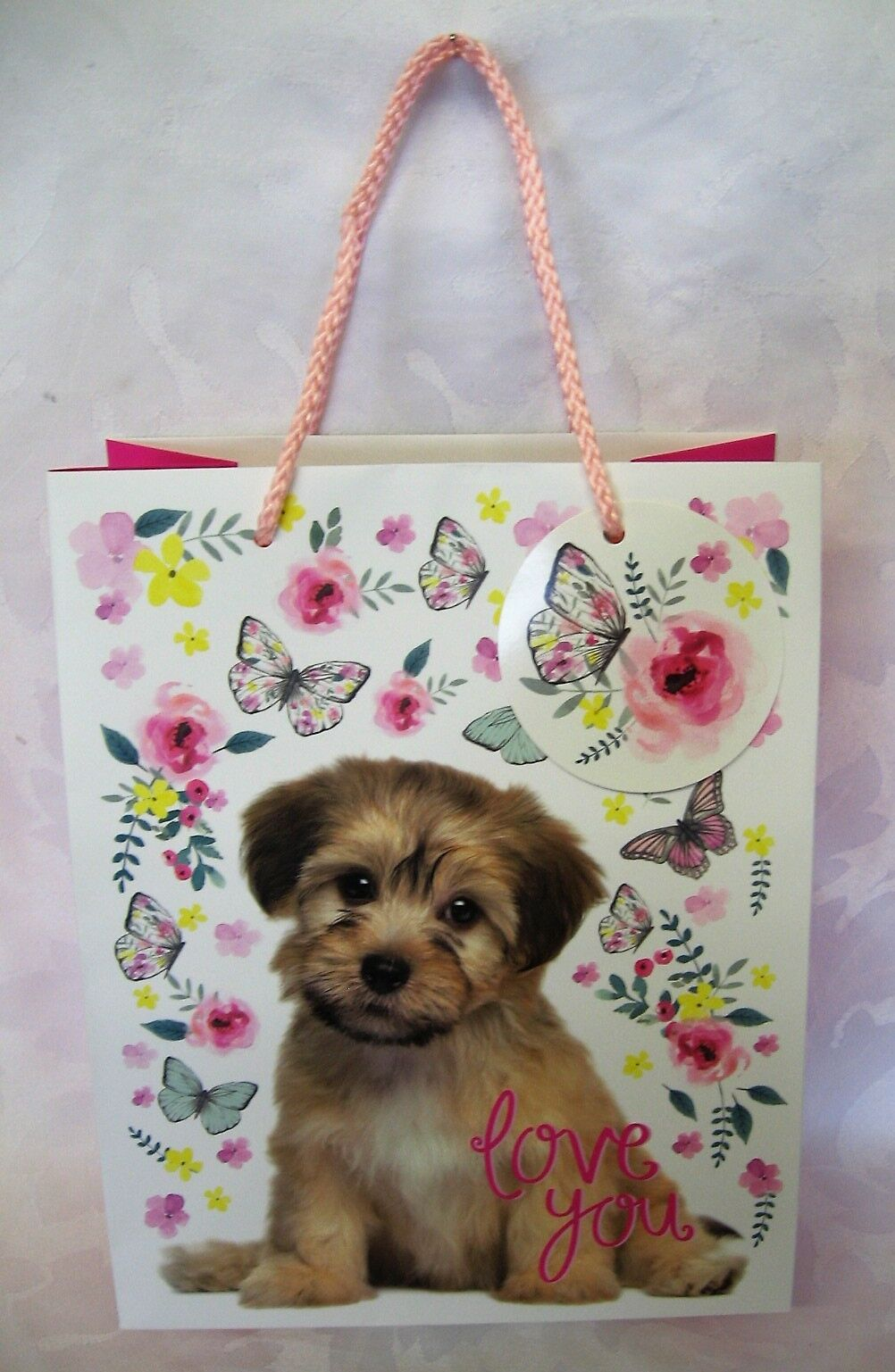 Medium Gift Bag Love You Photographic Puppy Butterflies Pink Yellow Floral /& Tag