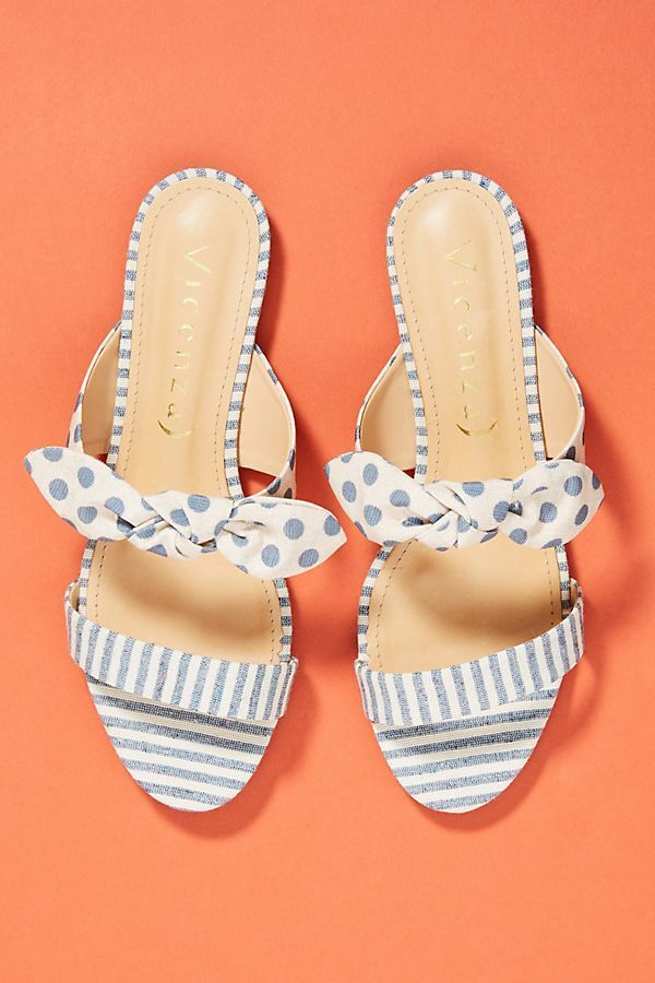 NIB Anthropologie Vicenza Striped + Dotted Slide Sandals sz 38 Coloreee Sky
