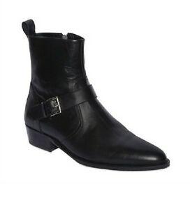 Handmade Men black leather boot, Men's