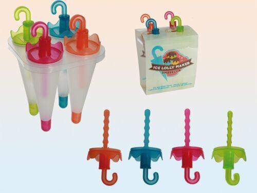 2 x OMBRELLO FORMA GELATO LOLLY POP MAKER stampo Mold Jelly vassoio per bambini ragazzi