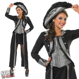 Sexy-Ladies-Black-Captains-Mate-Fancy-Dress-Costume-With-Hat-Sizes-8-30