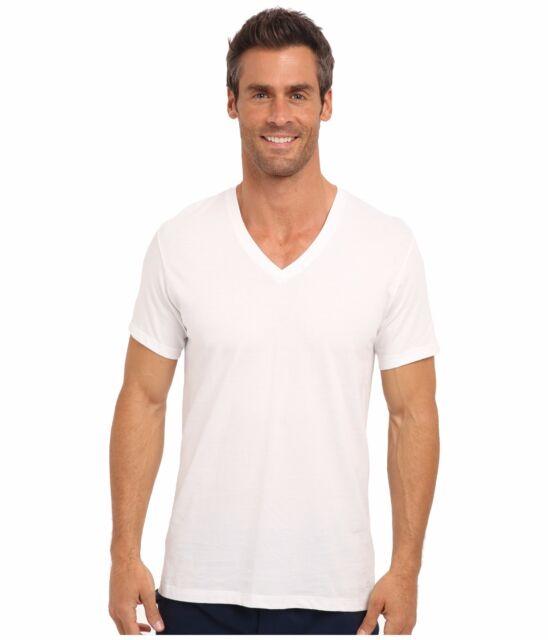 25be11db7022 $75 CALVIN KLEIN Men WHITE COTTON V NECK UNDERSHIRTS CLASSIC T-SHIRT 2 PACK  L