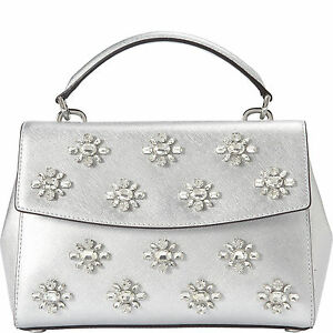 6401899ace8d Image is loading Michael-Michael-Kors-Ava-Jewel-Small-Silver-Leather-