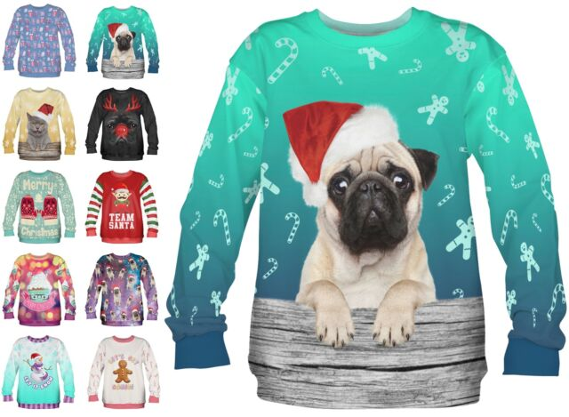 Women's Mens Christmas Jumper Sweatshirt Novelty Funny Xmas Top Funky 10 12 PUG