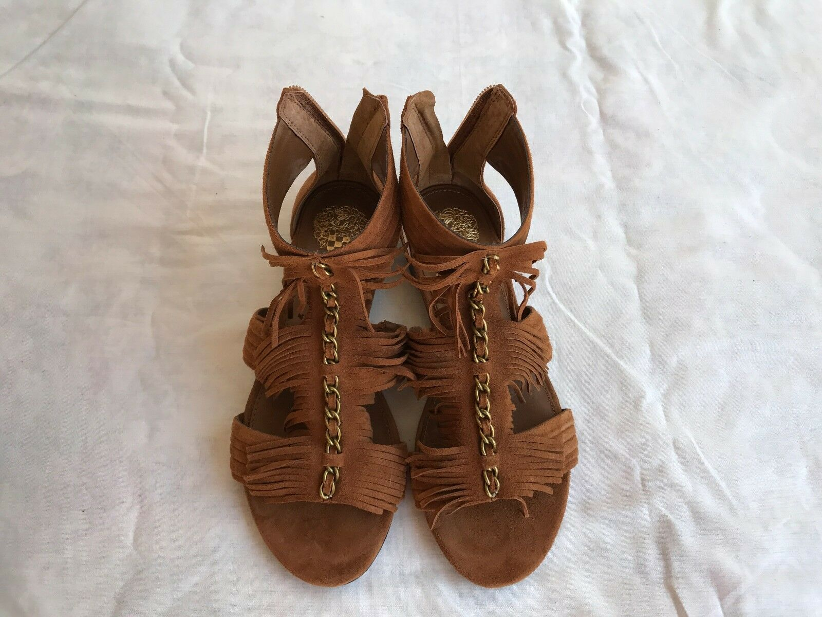 NEW Authentic Vince Camuto Hershell Suede Fringe Rust Sandals Size US 6.5 M