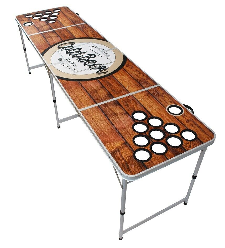 Original PREMIUM Beer Pong Tisch - Wood - inkl. Bälle und Eisfach
