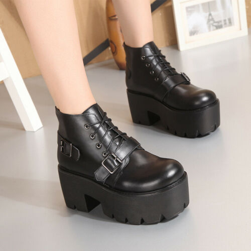 Details about  /Womens Gothic Leather Buckle Strap Ankle Riding Boots Platform Heels Biker Shoes