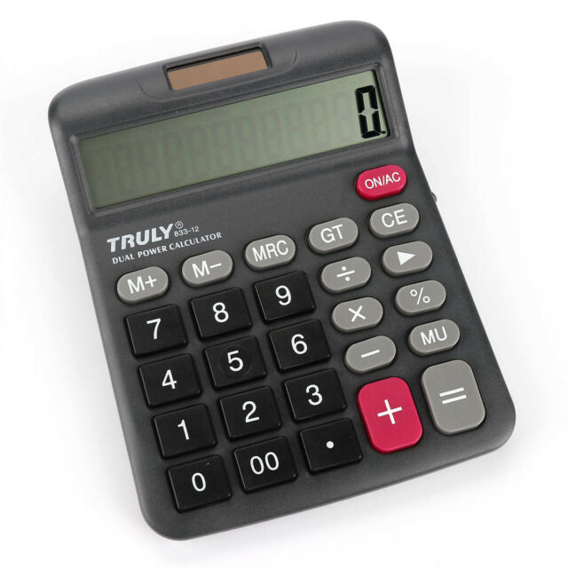 833-12 Truly 12 Digits Desk-Top Calculator Dual Power Power Switch Office Home