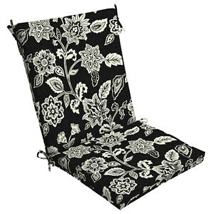 Black Floral Patio Chair Cushion Seat Outdoor Replacement Dining