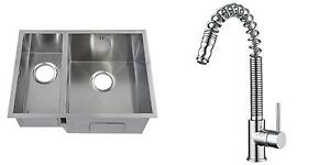 Handmade-1-5-Bowl-Stainless-Steel-Undermount-Kitchen-Sink-amp-Mixer-Tap-KST179
