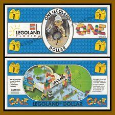 Legoland 1 Dollar, 2012 Florida Series 4 Digit Number, Like Disney Dollar Unc