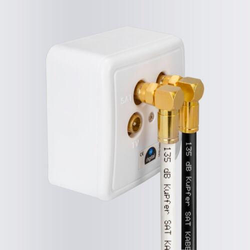 135dB 5-fach 3m Sat Koaxial Antennen Anschluss Kabel Kupfer 2x WinkelF-stecker