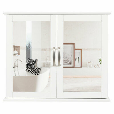 Bathroom Space-Saving Sliding Door Cabinet With Mirror White