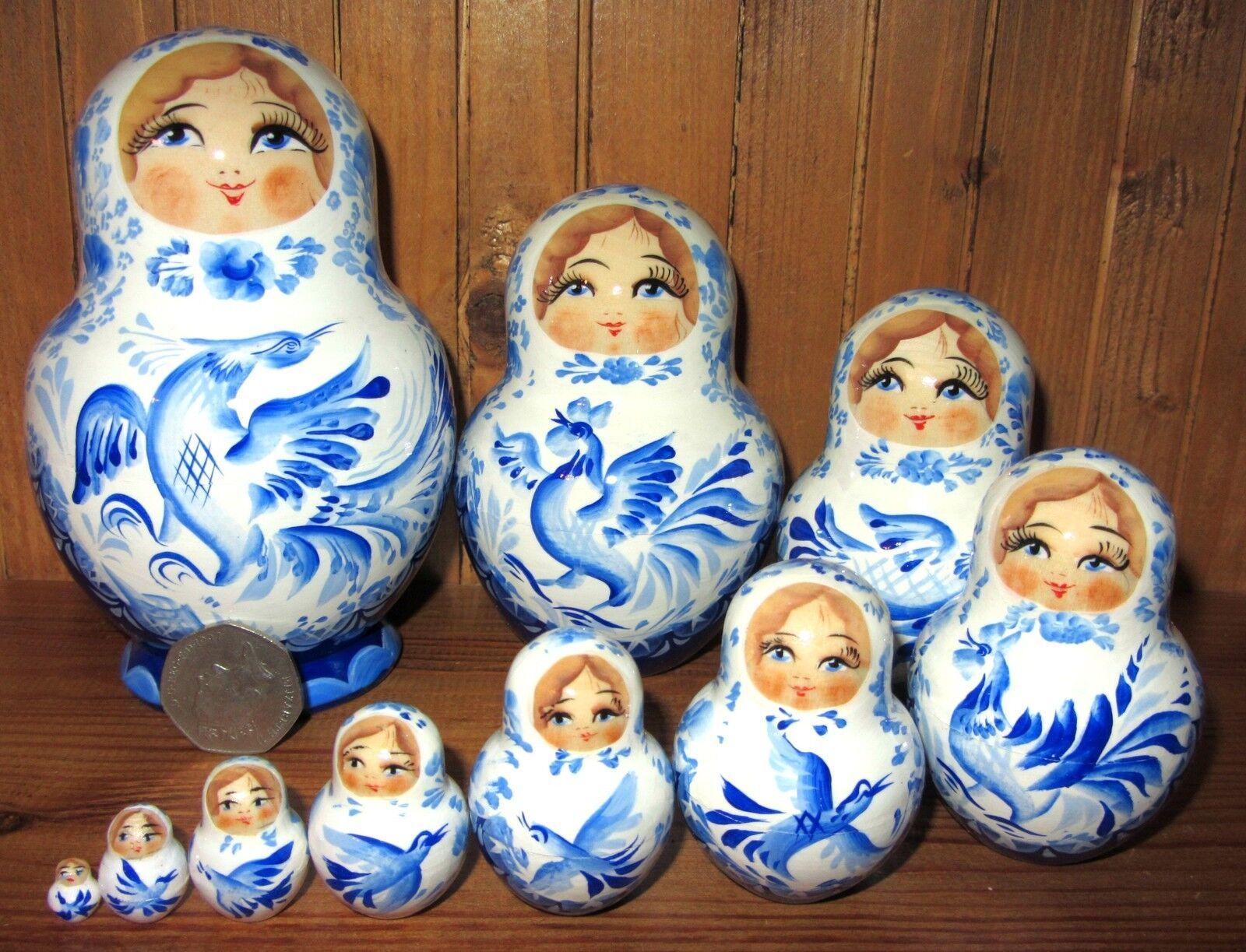 Nesting Russian dolls Matryoshka Babushka 10 Weiß Blau birds MARCHENKO Genuine