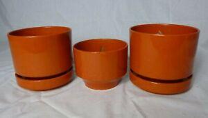Set of 3 Vtg 70's MOD Dark Orange Rust Color Plastic Plant Pots Planters