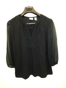 Chico-039-s-Size-2-L-Black-Blouse-Ruffle-V-Neck-Shirt-3-4-Sheer-Sleeve-Top