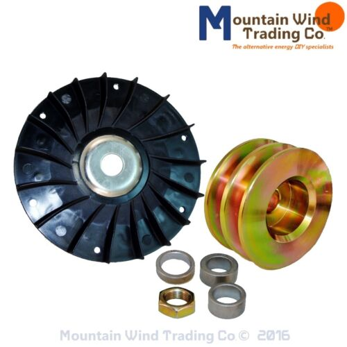 Fan AND 80 MM double pulley 4 permanent magnet alternator PMG PMA Delco Hydro