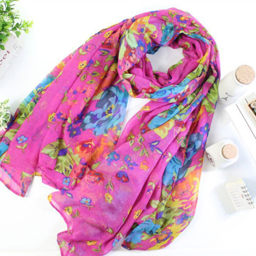 Fashion Women Ladies Floral Print Scarf Wrap Shawl Voile Stole Soft Long Scarves