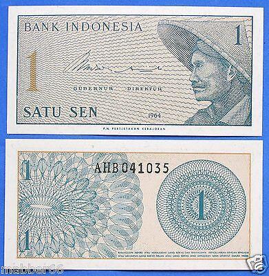 Indonesia 1 Satu Sen 1964 Farmer Free Shipping Worldwide
