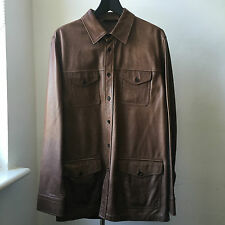 Very Cool superb quality PRADA buttery soft brown leather shirt jacket Sz 48