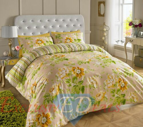 200TC De Lujo Cubierta Edredón Reversible Impreso Floral Juego de cama doble King bicis