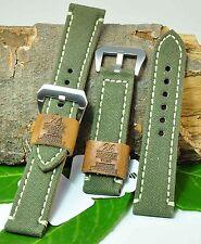 (FL315) Uhrenarmband handgenäht 24mm oligrün Textil/Leder Military-Look