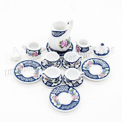 15PCS Ceramic Beauty Flower  Tea Cup Set 1:12 Miniature Porcelain Decor Gift Hot