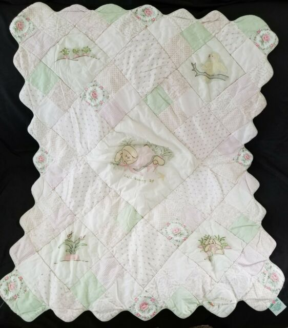 Pink Bunnies By The Bay Lulla Bunny Bye Binkie Blanket