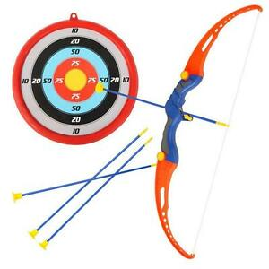 Children-Kid-Archery-Role-Play-3-Arrows-amp-Target-amp-Luxury-Safe-Bow-Set-Kit-E