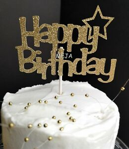 Image Is Loading HAPPY BIRTHDAY CAKE PICK TOPPER DECORATION SMALL GOLD