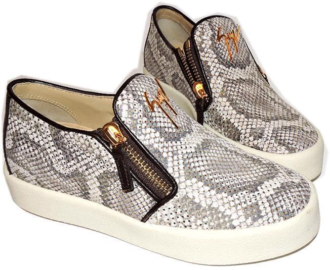 Giuseppe Zanotti Snake Skate Wedge Sneakers Double Zipper Shoe 36.5 Loafer