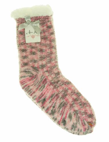 Alexa Rose Women/'s Sherpa Lined Soft Knit Gripper Bootie Socks Pink Gray