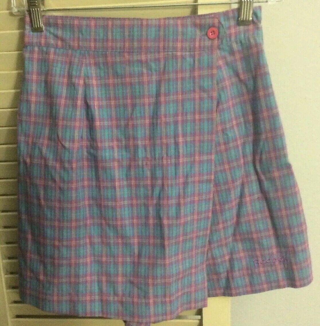 NWT Vtg 80s Reebok Sport Plaid Tennis Shorts SKORT Spell Out Logo Sz S Preppy