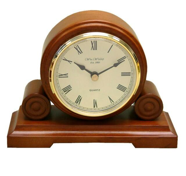 Round Vintage Wooden Traditional Mantle or Table Clock New W2592