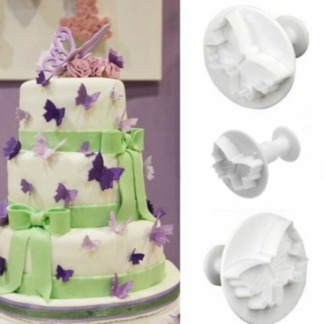 3PCS Butterfly Fondant Cake Decoration Plunger Cutter Sugar Paste Icing DIY Tool