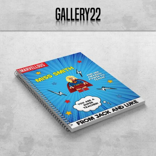 Personalised Teacher Assistant A5 Notebook End Of Term Present Superhero Comic