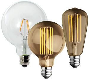 Vetro trasparente Globo Stile Bulbo Vintage LAMPADINE de Lampada Led Retrò LED E27 Detalles 8PNyOv0wnm