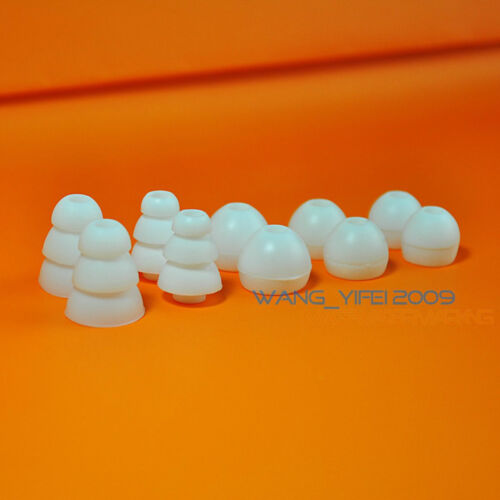 5 White Gel Earbud Ear Buds Piece Tips For Tour Sony Earphones Tree Shape L Size