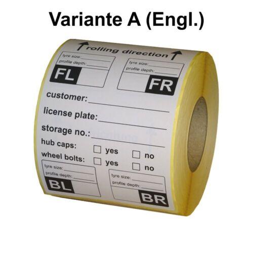 Englisch 200 Stück Reifenetiketten // tire labels extra stark haftend