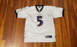 Details about Reebok Authentic NFL White Baltimore Ravens Joe Flacco 5 Jersey Mens 50 Sewn