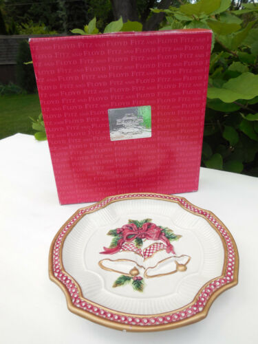RARE FITZ & FLOYD ESSENTIALS HOLIDAY BELLS CANAPE PLATE WALL HANGING