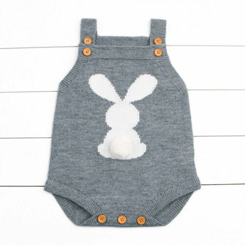 Newborn Baby Boy Girl Bunny Knitting Wool Romper Bodysuit Jumpsuit Rabbit Outfit