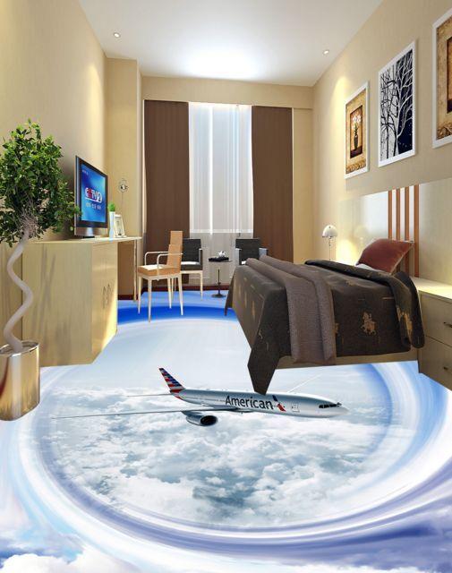 3D Circle Cloud Aircraft Floor WallPaper Murals Wall Print Decal 5D AJ WALLPAPER