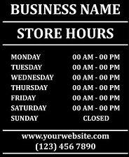"""Custom Business Store Hours Sign Vinyl Decal Sticker 11""""x13"""" Door Glass"""