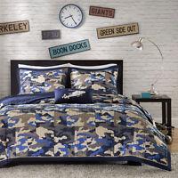 Modern Camo Camouflage Army Blue Navy Grey Boy Soft Quilt Comforter Set & Pillow