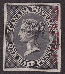 CANADA TRIAL COLOR PROOF 8TCii CARMINE OVERPRINT SPECIMEN ON BLACK REPAIRED