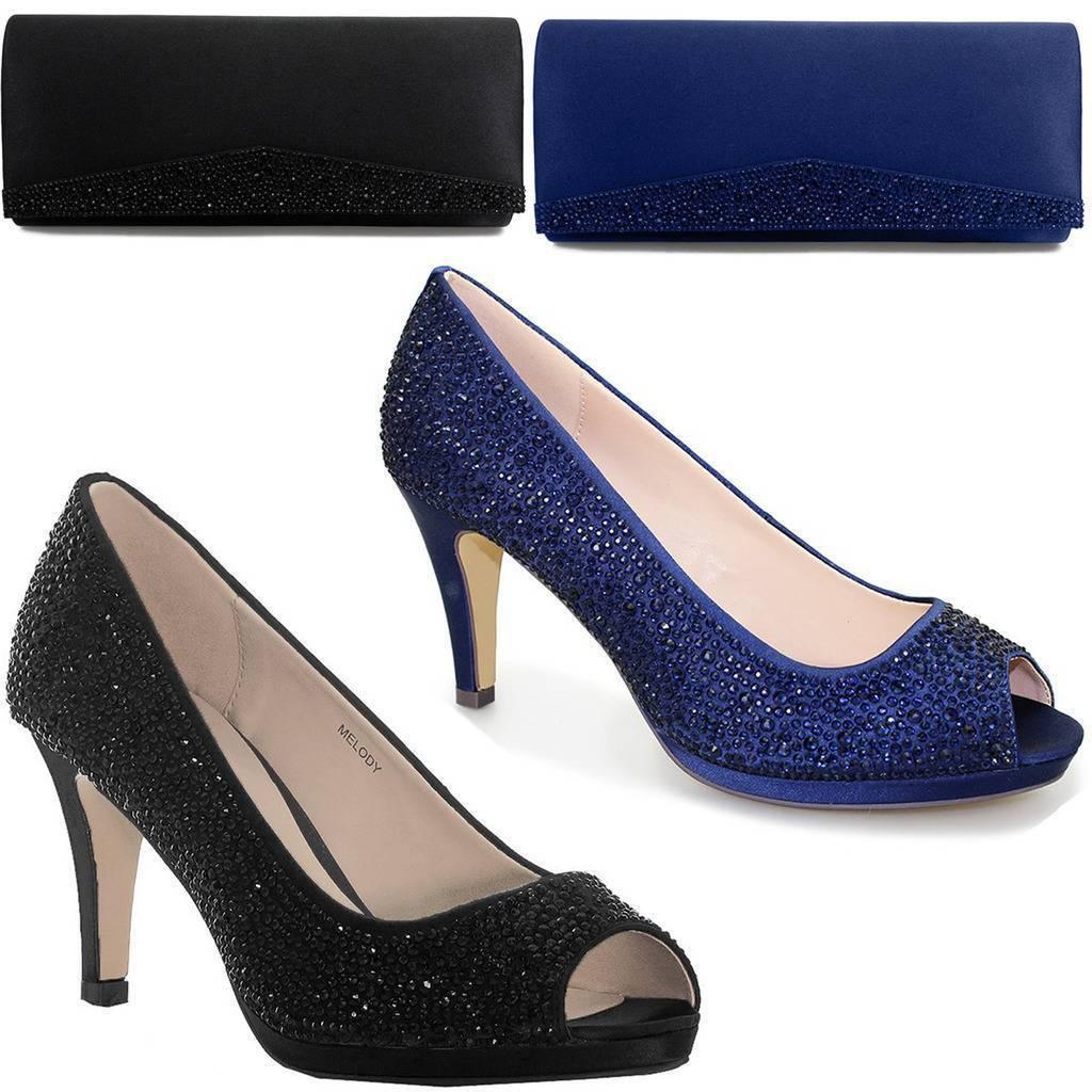 FLR299 Melody Damenschuhe Diamante Peep Toe Slip On Small Heels Court Schuhes