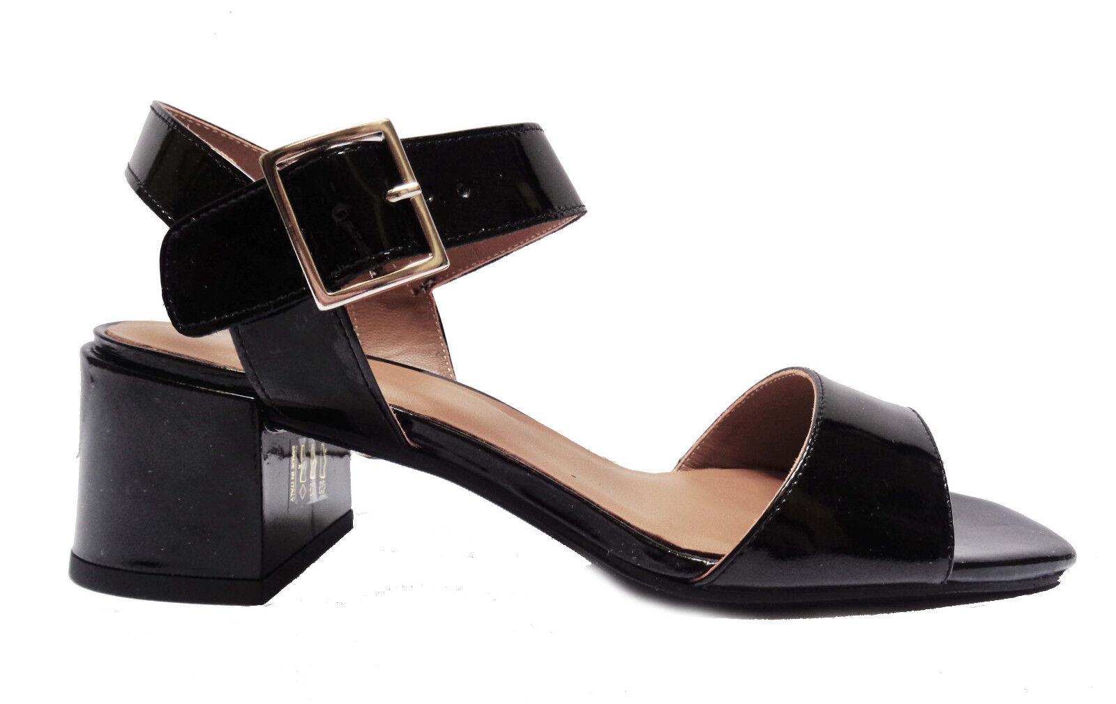 chaussures femmes FRAU 90U2 SANDALI DA femmes IN VERNICE COL. noir TACCO CM. 5