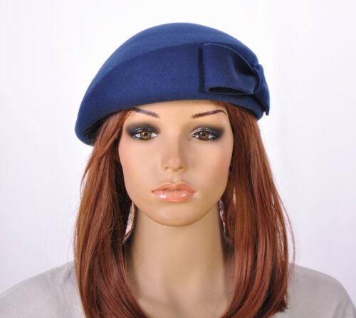 M60 Navy Blue Wool Cashmere Cute Bow Brim Fedora Bucket Hat Cap Church Dress