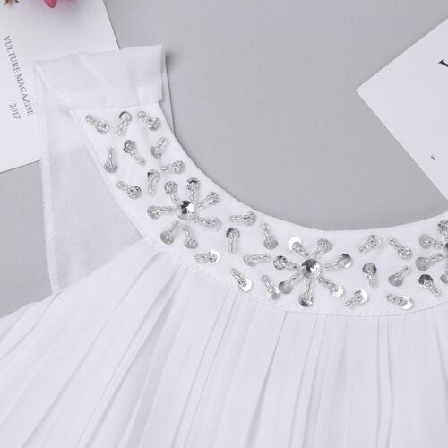 Mädchen Neckholder Chiffon Kleid Festlich Partykleider Strass Brautjungfernkleid